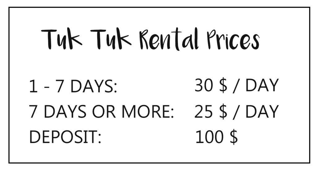 Tuk Tuk Rental Prices
